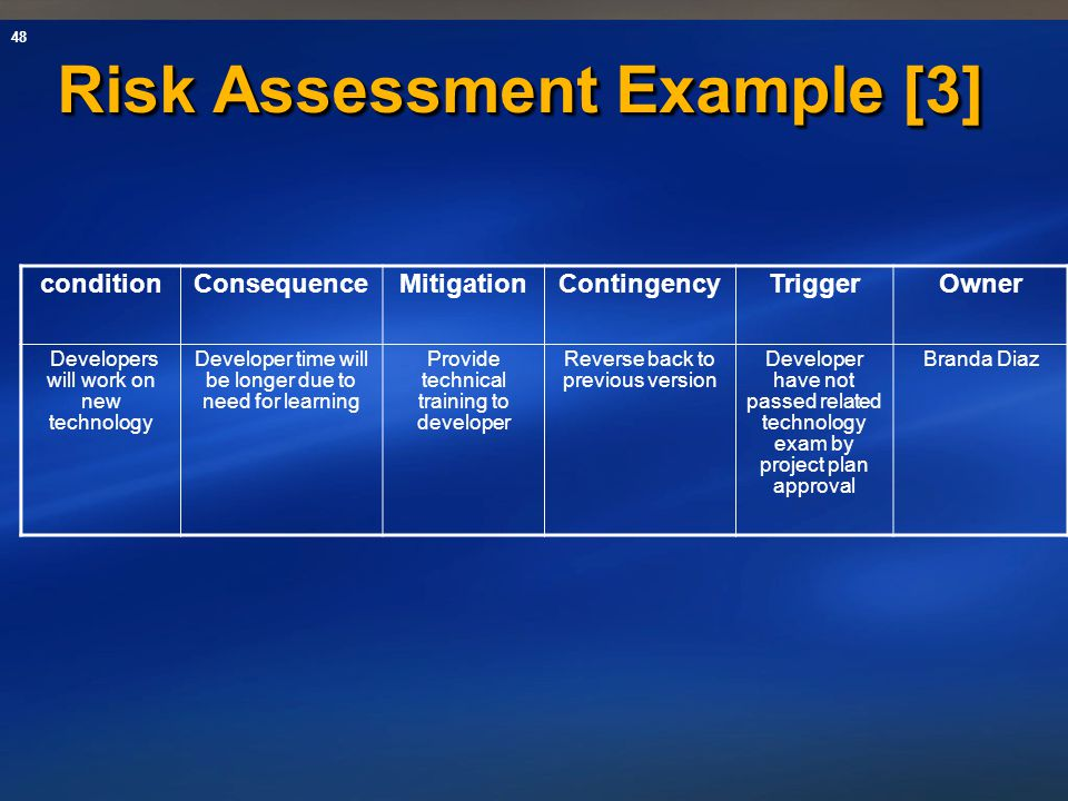 Risk Assessment Example [3]